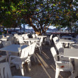 Foto Stock: Cafe with white tables