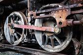 Wheels of old steam locomotive — Stock Photo