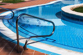Railings stairs pool — Stockfoto