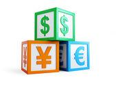 Alfabeto cubo finanzas signo — Foto de Stock