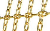 Gold chain links background — Stock Photo