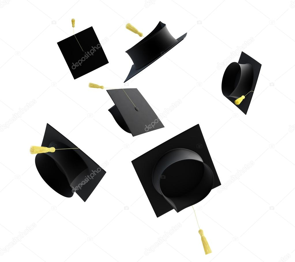 Graduation cap isolated on a white background  Stock Photo #12427576