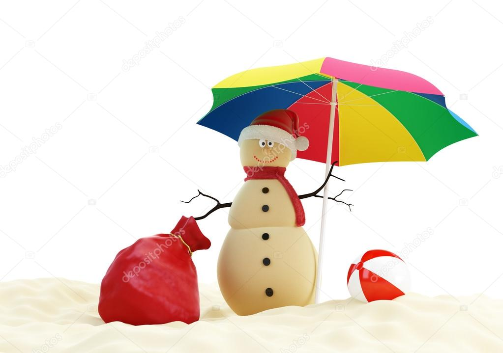 Snowman on a beach Santa's Sack — Stock Photo #12885664