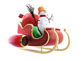 Santa sleigh and Santa — Stock Photo