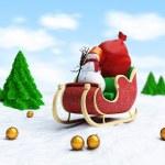 Santa sleigh and Santa — Stock Photo #14175954