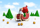 Santa sleigh and Santa — Stockfoto