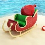 Sleigh of Santa Claus on the beach — Stock Photo #16314741