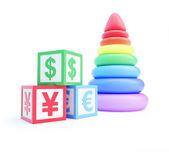 Alphabet cube finance sign pyramid toy — Stock Photo