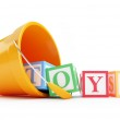 Baby toy bucket on a white background — Stock Photo