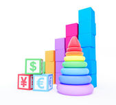 Alphabet cube finance sign pyramid toy — Stock Photo