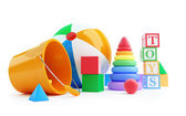 Toys alphabet cube, beach ball, pyramid — Stock Photo