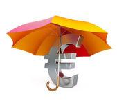 Euro sign under umbrella — Stock Photo