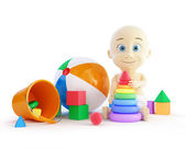 Baby toys beach ball, pyramid — Stock Photo