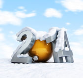 Happy new year 2014 snow-covered inscription against the sky with clouds — Stock Photo