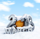 Spring 2013 march a lot of snow, winter is not retreating — Stock Photo