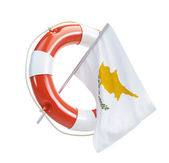 Cyprus flag in rescue circle, lifebuoy, life buoy on a white background — Stock Photo