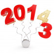 End of 2013 new year 2014 on a white background — Stock Photo #27691199