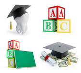 School set, graduation cap tooth on a white background — Stock Photo