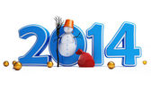 Snowmen happy new year 2014 on a white background — Stock Photo