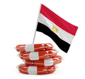 Egypt flag in rescue circle, lifebuoy, life buoy 3d Illustrations on a white background — Stock Photo