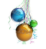 Christmas glass ball Toys 2014 new year on a white background — Stock Photo