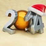 New year 2014 on the beach, beach ball, santa het — Stock Photo #30324281