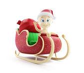 Baby santa hat santa sleigh and Santa's Sack with Gifts — Stock Photo