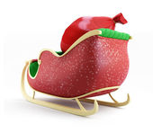 Santa sleigh and Santa's Sack with Gifts on white background — Stock Photo