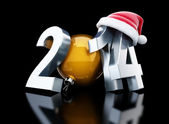Happy new year 2014 santa hat 3d Illustrations — Foto de Stock