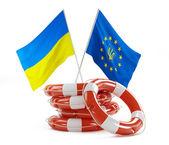 European Union and Ukraine flag — Zdjęcie stockowe