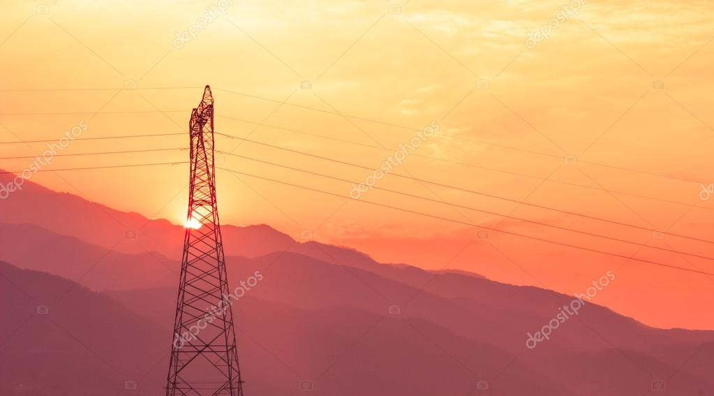 Electric Power lines at Sunset mountain view  Stock Photo #14616777
