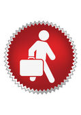 Passenger with luggage moving forward — Stock Vector