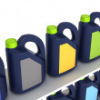Jerrycans with car engine oil - isolated — Stock Photo