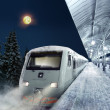 Stock Photo: Night scene with train at station in winter
