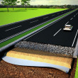 Asphalt Road Structure with layers — Stock Photo