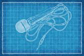 Microphone - Blue Print — Stock Photo