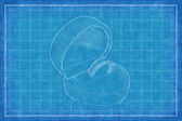 Golden ring in box - Blue Print — Stock Photo