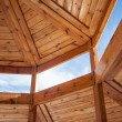 Wooden housing construction - top part — Stock Photo