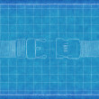 Buckle on strap - Blue Print — Stock Photo