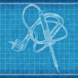 Stock Photo: Soldering-iron - Blue Print