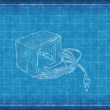 AC DC Adapter - Blue Print — Stock Photo