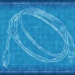 Cable with connectors - Blue Print — Stock Photo