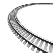 Single curved railroad track isolated — 图库照片