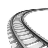 Single curved railroad track isolated — Stock Photo