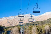 Ski lift in the mountains — Stock Photo