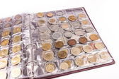 Coin album with world coins — Stock Photo