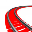 Single curved railroad track isolated — Stock Photo #50511649