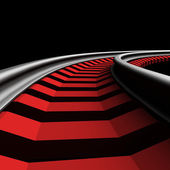 Single curved railroad track — Stock Photo