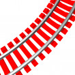 Single curved railroad track isolated — Stock Photo #50572835