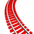Single curved railroad track isolated — Stock Photo #50796493